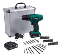 Cordless drill 12V | Incl. 46 accessories & 2 batteries in storage case