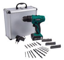 Cordless drill 12V with 46 accessories & battery in storage case